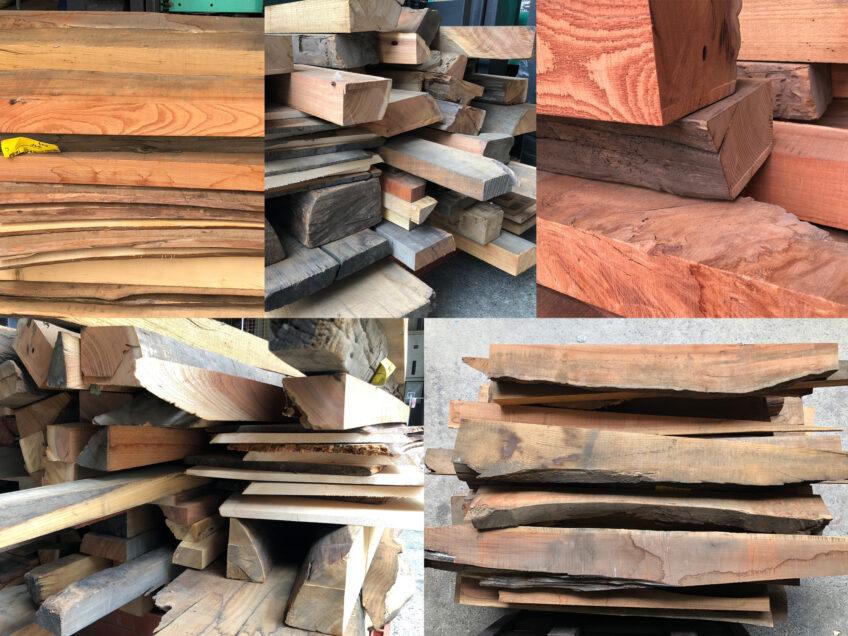 【ヒノキ、ケヤキ】ビンテージウッド(古木無垢材)看板、棚板、壁装飾